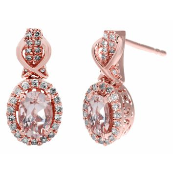 10K Rose Gold, Pink Morganite and .29 cttw Diamond Oval Earrings