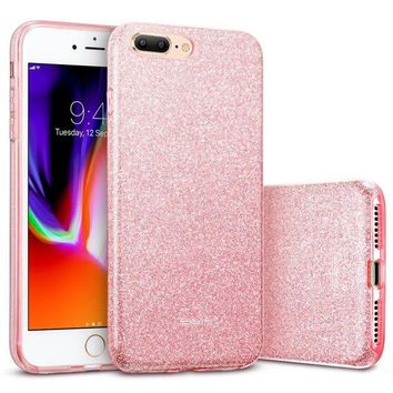 DCK4S2 iPhone 8 Plus Case, iPhone 7 Plus Case, ESR Glitter Sparkle Bling Case [Three Layer] [Supports Wireless Charging] for Apple 5.5' iPhone 8 Plus/7 Plus(Rose Gold)