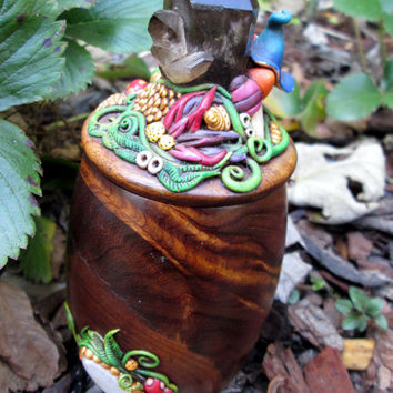 Magical Moonstone, Labrodorite, Smoky Quartz wooden container