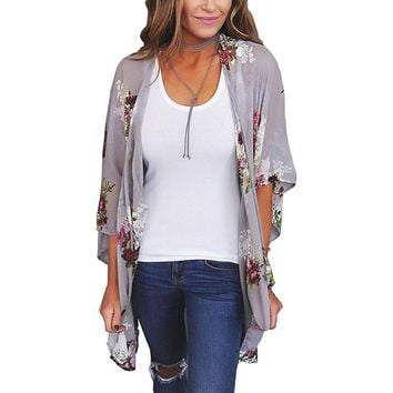 Women Boho Half Sleeve Chiffon Blouse Casual Floral Print Loose Kimono Shirts Big Size Beach Tunic Tops Peplum Blusa Robe