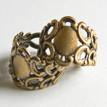 Brass Ox Adjustable Filigree Ring 17mm x 20mm  - 2 pcs.