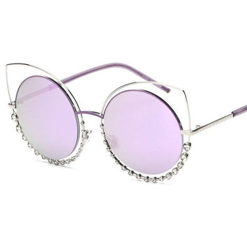 Dreamer Metal Cat Eye Twin-Beams Rhinestone Frame Sunglasses