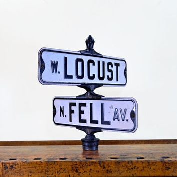 Vintage Street Signs, Locust and Fell Ave, Black and White Street Sign, Road Sign, Metal Street Sign, Old Street Sign