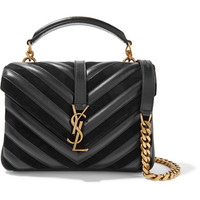 Saint Laurent - College medium quilted leather and suede shoulder bag