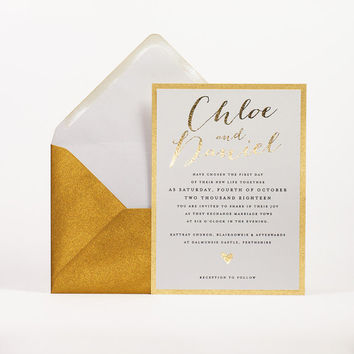 Chic Shine Wedding Invitation - Gold Foil Wedding Invitation Suite - Gilded Wedding Invitation - Gold Wedding Invitations by Paper Charms