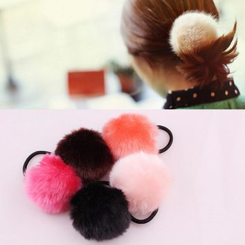 Summer New Fashion Korea Style hair accessories for women 1PX Rabbit Fur Hair Band Elastic Hair Bobble Pony Tail Holder