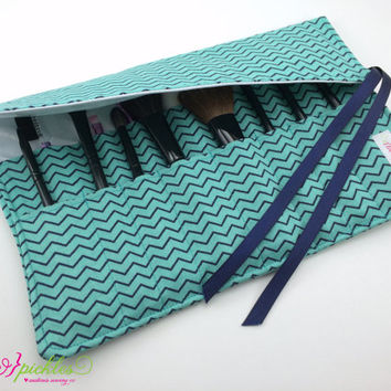 Makeup Storage, Teal and Navy Chevron Make Up Brush Holder, Make up Brush Roll, Travel Case