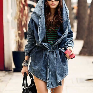 Korean Women Cape Coat Long Sleeve Jean Jacket Collect Waist Cowboys Windbreaker (Size: L) = 1929897476