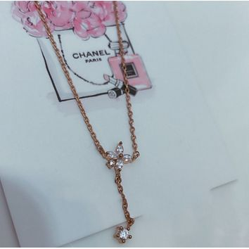 Rose gold flowers with diamond necklace simple DIY necklace women 's environmental necklace