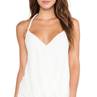 T-Bags LosAngeles Drape Front Tank in Ivory