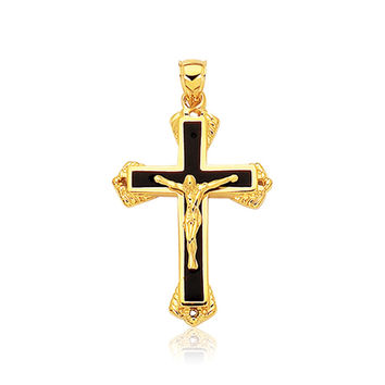 14K Yellow Gold Black Onyx Cross Pendant