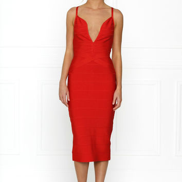 Ho Shelia V-Front Bandage Dress