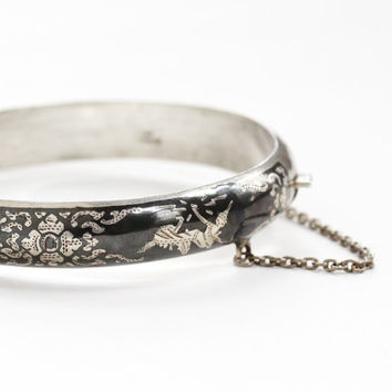 Vintage Sterling Silver Siam Flower Hinged Bracelet - Siamese Goddess Thai Niello Dark Gray Statement Floral Bangle Jewelry