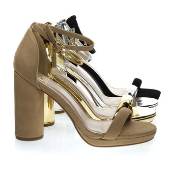 Eking Natural Beige By Delicious, Chunky Rounded Block Heel Sandal w Platform
