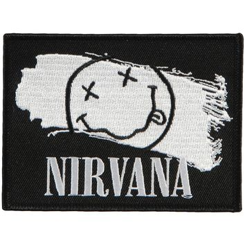 Nirvana Men's Smiley Paint Embroidered Patch Black
