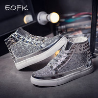 EOFK 2017 spring design  Women Fashion Flats pink Silver Rivet Sequins Shiny Shoes Leather Casual Shoes ankle boots for women