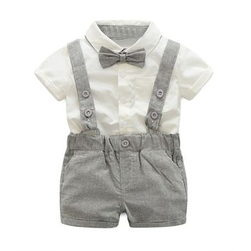 2pcs/set Baby Boys Suspenders Clothes Suits New Fashion Gentleman White Short Sleeve Shirt+Suspenders Shorts Infants Outfits Set