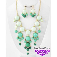 Green Mint Bubble Necklace & Earrings at Endless Envy Jewelry & Clothing Boutique