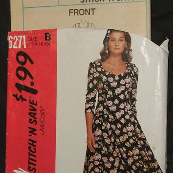 McCalls Sewing Pattern 6271 Uncut Misses Sweetheart Dress Semi Fitted Princess Seam Size 14 16 18 Easy Stitch n Save Spring Summer Fashion