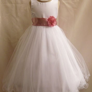 Curly Bottom Dress White with Colorful Sash (Flower Girl Dress)