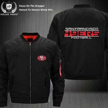 Dropshipping USA Size MA-1 Jacket Football Team SF 49ERS Men Women Flight Jacket Custom Design Printed Bomber Jacket made Men