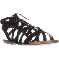 AR35 Marlie Flat Lace-Up Sandals, Black, 10 US