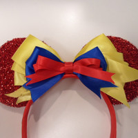 Snow White Minnie Ears; Snow White Disney Headband; Snow White Bow