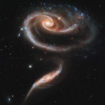 PAIR of INTERACTING GALAXIES POSTER Space Astrology - Amazing Nasa Hubble Telescope Shot RARE HOT NEW 24x24