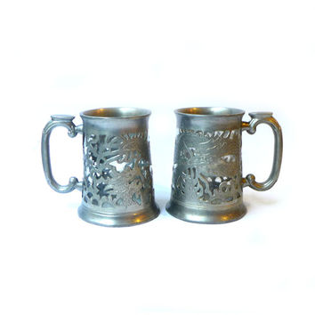 Vintage Kut Hing Chinese pewter cut out dragon beer tankards