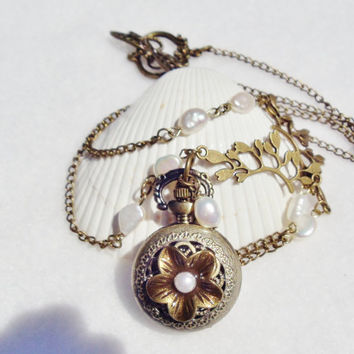 Pearl flower pocket watch pendant, bronze flower with pearl on bronze chain with fresh water pearls