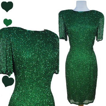 Dress Vintage 80s GREEN Beaded SILK Cocktail Party Dress S M St Patricks Day Sheath