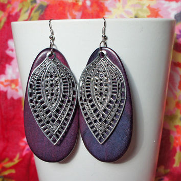Purple Wood Sterling Silver Filigree Earrings