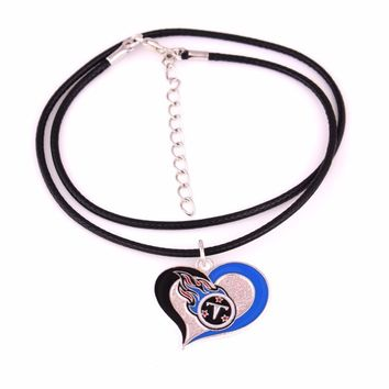 Tennessee Titans Fans collection Drop Shipping enamel Swirl Heart-shaped Football team logo sport charm leather chain Necklace