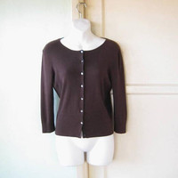 Dark Brown Cardigan; Women's Small, Basic/Minimal Rayon Button-Up Sweater; U.S. Shipping Included