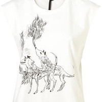 White Wolves Print Tank Top By Boutique - Jersey Tops  - Clothing  - Topshop