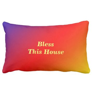 Bless This House Lumbar Pillow Vivid Rainbow
