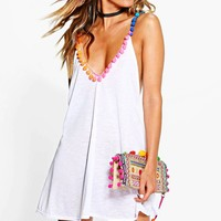 Maisie Multi Coloured Pom Pom Beach Dress | Boohoo