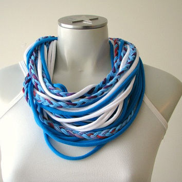 Tshirt scarf, String scarf, Infinity scarf, tshirt necklace, festival wear, fashion scarf, braided scarf