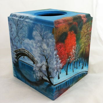 Tissue box cover winter spring summer autumn Hand painted Kleenex box Wood Tissue Holder Kleenex Storage Personalized gift art Custom Order