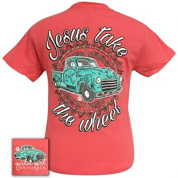 Girlie Girl Originals Jesus Take the Wheel Truck Faith Coral T-Shirt