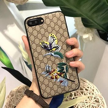 Fashion Butterfly Print Embroidery iPhone Cover Case For iphone 6 6s 6plus 6s iphone 7 7plus