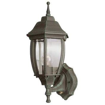 Trans Globe Lighting 4470-VG One-Light Verde Green Uplight Outdoor Wall Light with Photocell and Beveled Glass