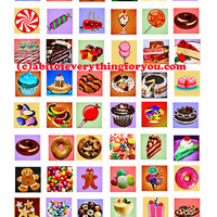 dessert cake sweets food clipart collage sheet 1 inch squares digital download graphics images printables for pendats pins magnets