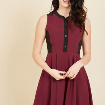 Business Over Bianco Shirt Dress in Maroon | Mod Retro Vintage Dresses | ModCloth.com