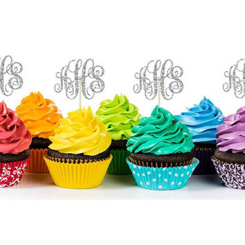 GLITTER CUPCAKE TOPPERS//glitter birthday decoration//custom orders//you pick the color//sparkly glitter decor