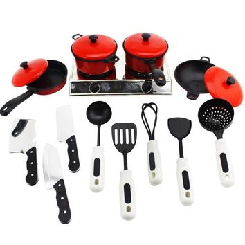 13pcs Kitchen Pretend Play House Toy Set Utensils Cooking Pot Pan Cookware Role Play Miniature Simulation Cook Gift For Girl