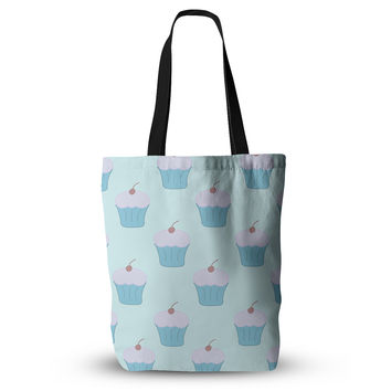 "NL Designs ""Blue Cupcakes"" Pastel Food Everything Tote Bag"