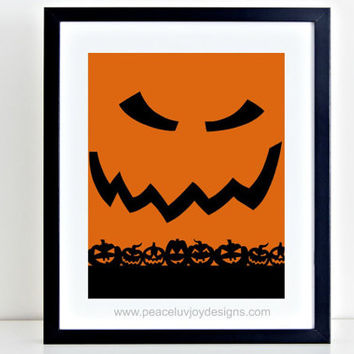 Halloween Printable, Scary Pumpkin, 8x10, Holiday Art,  Fall Print, Autumn Decor, Home Print, Instant Download, Pumpkin Art, Classroom Decor