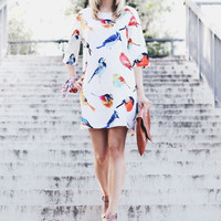 Womens Summer Birds pattern Loose Trendy  Dress