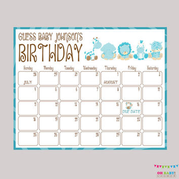 Boy Safari Baby Shower Birthday Predictions - Printable Baby Shower Due Date Calendar & Birthday Guess - Boy Baby Shower Activity BS0001-B
